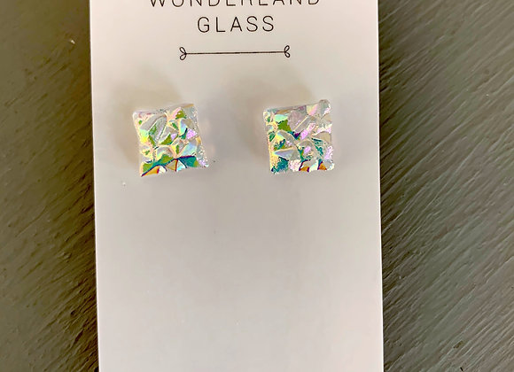 Textured Dichroic Glass Stud Earrings on Clear.