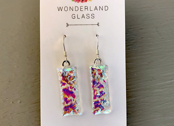 Multi-Coloured Dichroic Glass Drop Earrings on Clear.