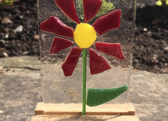 Dark Red Daisy Panel.