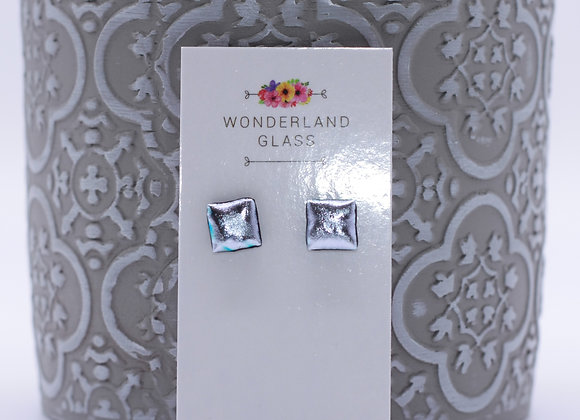 Textured Silver Dichroic Glass Stud Earrings.