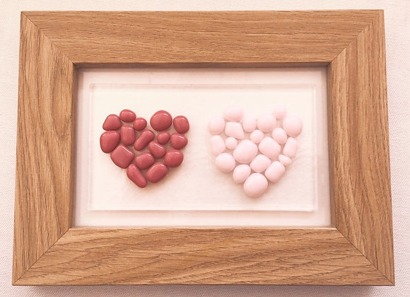 Double Pink Bobble Heart Frame.