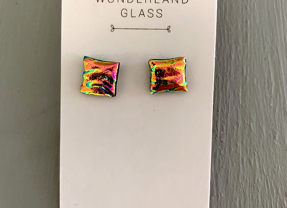 Pink & Gold Stream Textured Stud Earrings.