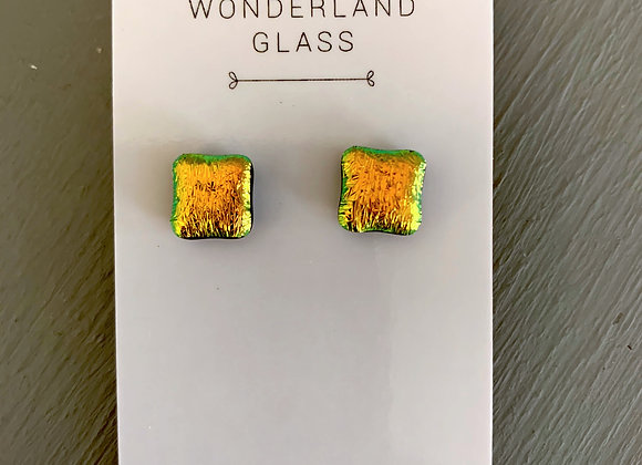 Pale Orange Dichroic Glass Stud Earrings.