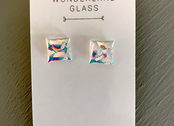 Multi-Coloured Dichroic Glass Stud Earrings on Clear.
