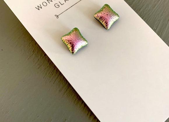 Light Pink Dichroic Glass Stud Earrings.