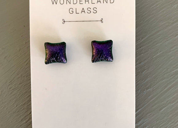 Deep Purple Dichroic Glass Stud Earrings.