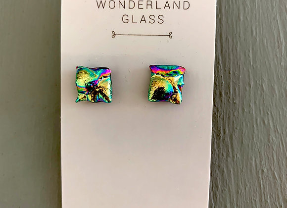 Textured Gold Dichroic Glass Stud Earrings.