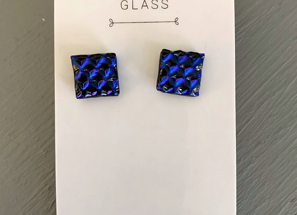 Textured Blue Dichroic Glass Stud Earrings.