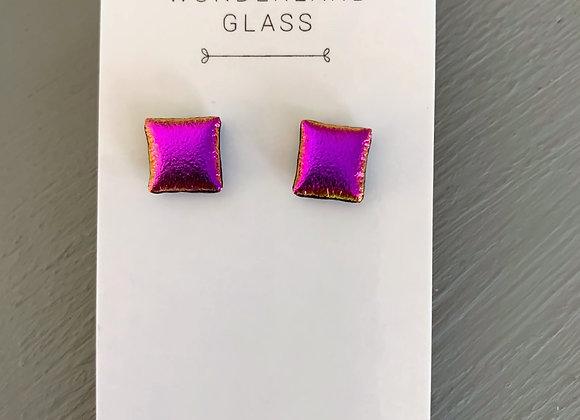 Deep Pink Dichroic Glass Stud Earrings.