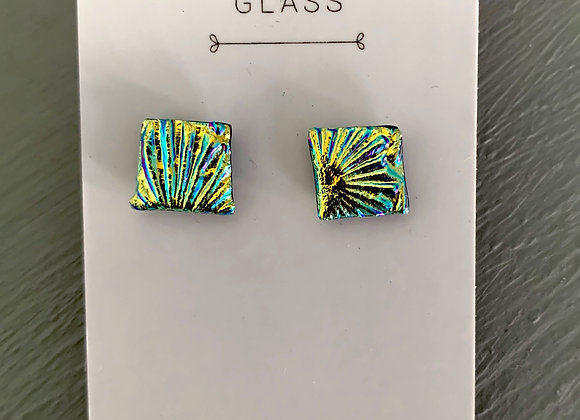 Gold Textured Dichroic Glass Stud Earrings.