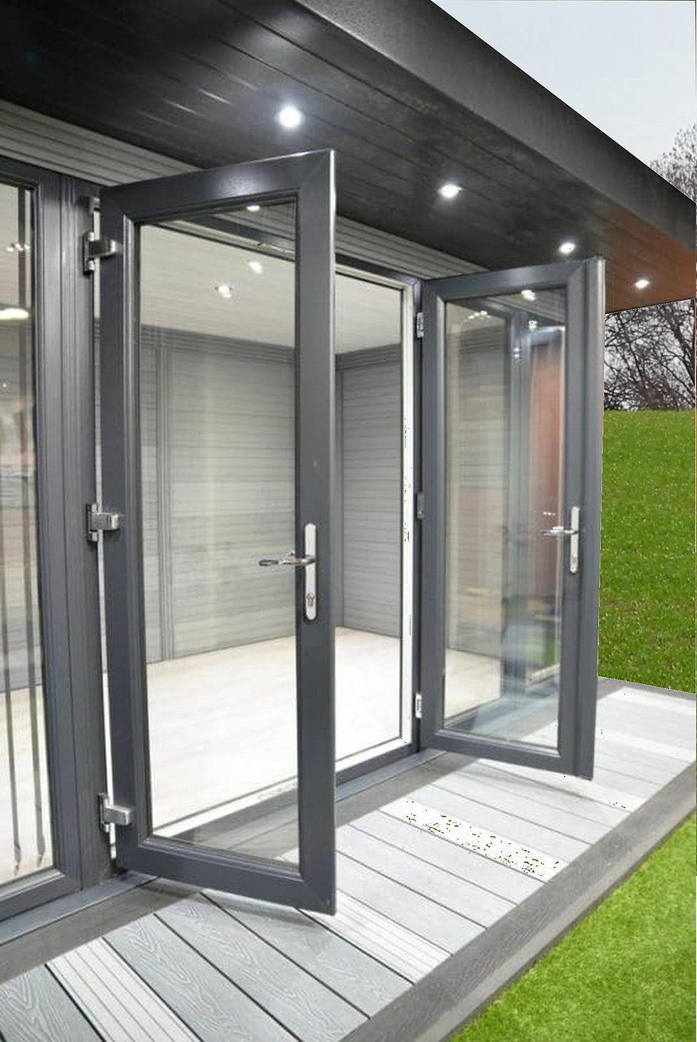 doors on a composite wood garden room
