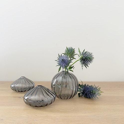 Set of 3 Mini Smoked Glass Bud Vases