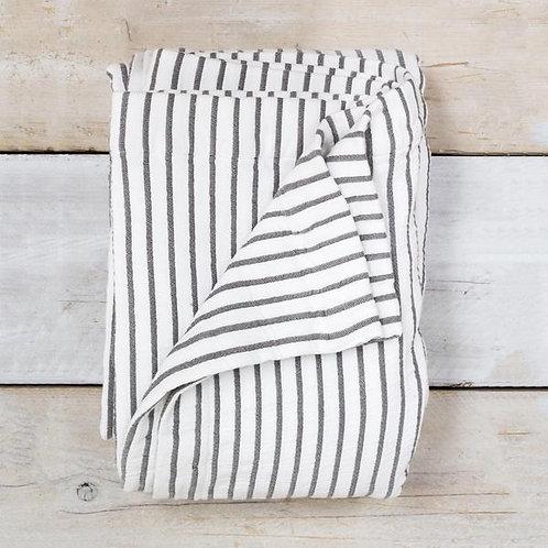 White & Grey Striped Throw