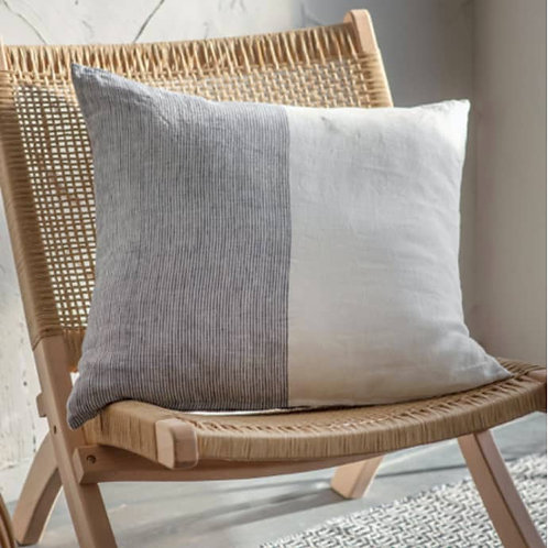 Ink & White Linen Cushion - Square