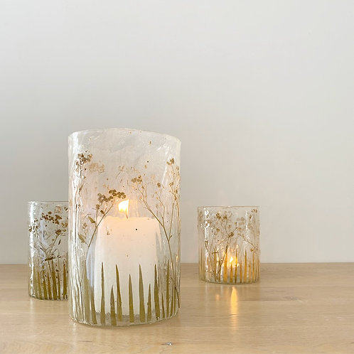 Dried Wildflower Glass Candle Holder