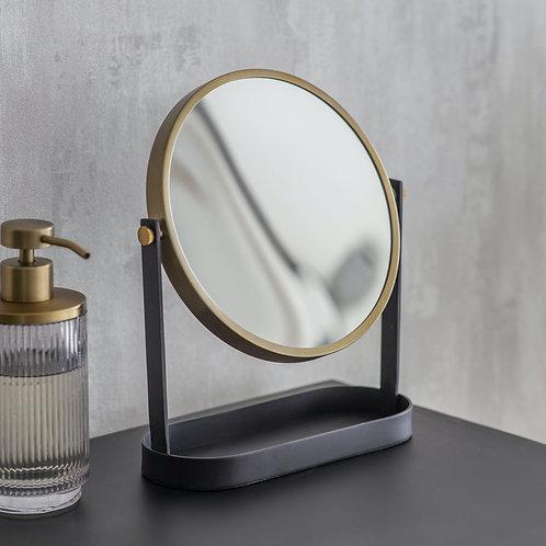 Antique Brass & Black Bathroom Mirror