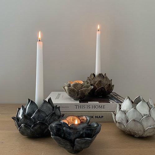 Dark Grey Blooming Flower Ceramic Candlestick Holder