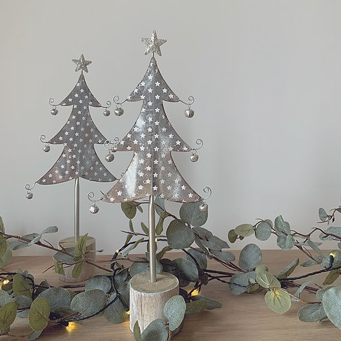 Silver Starry Metal Christmas Tree with Bells