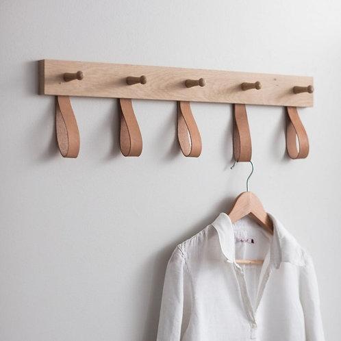 Oak & Leather '5' Peg Hanging Rail