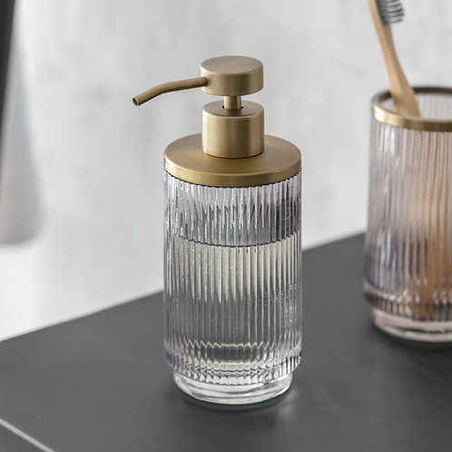 Glass Soap Dispenser with Antique Brass Detail