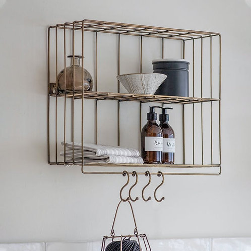 Antique Brass Wire Wall Rack