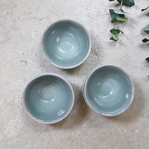 Ceramic Ribbed Bowl Seafoam