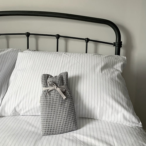 Pale Grey Waffle Cover Hot Water Bottle