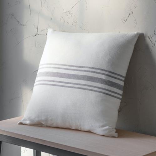 Grey & White Linen Stripe Cushion - Square