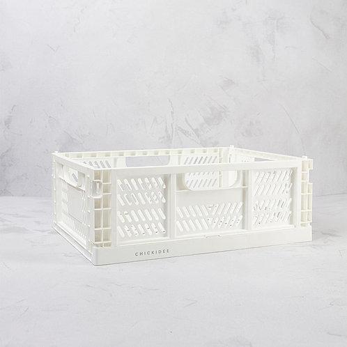 White Small Folding Storage Crate