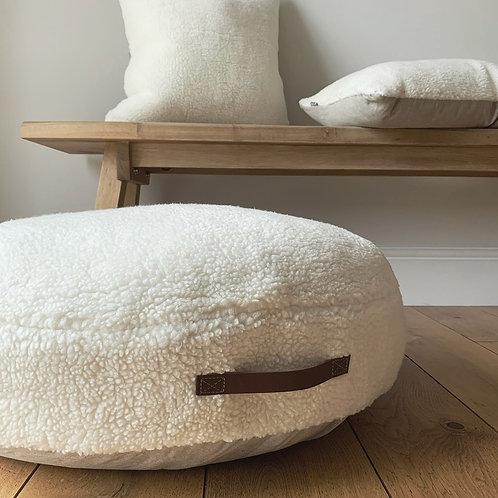 Off-White Sheepskin Round Floor Cushion
