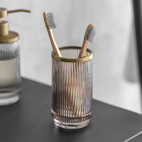 Glass Toothbrush Holder with Antique Brass Detail