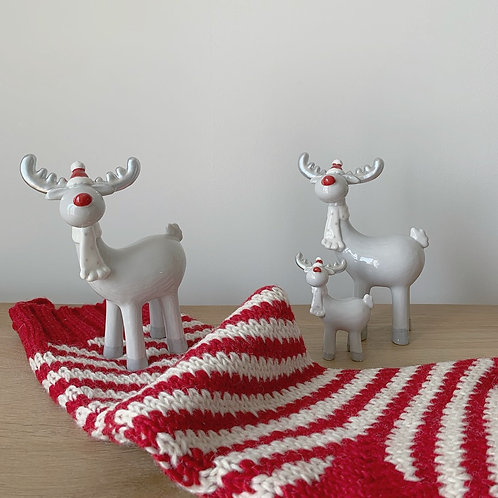 Grey Ceramic Reindeer Decoration - Large