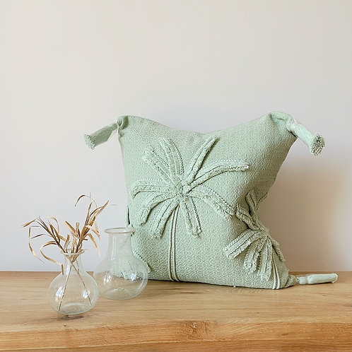 Mint Green Cushion with Palm Tree Design
