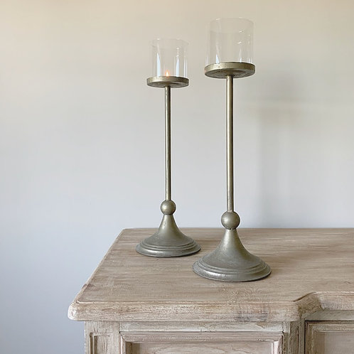 Antique Brass Tall Candle Holder