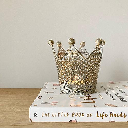 Gold Metal Crown Tealight Holder