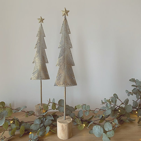 Gold/Silver Metal Nordic Christmas Tree - Large