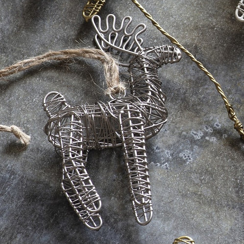 Silver Wire Hanging Reindeer Christmas Decoration