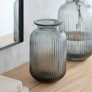 Grey Ribbed Vase - Small.jpg