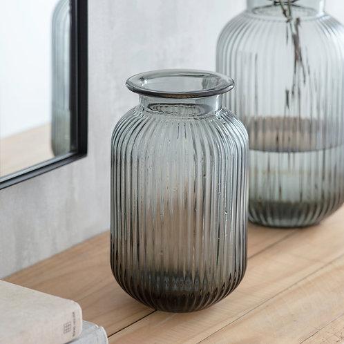 Grey Ribbed Vase - Small
