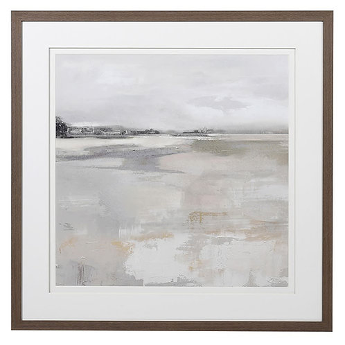 Mist Over Water Picture in Mid-Oak Effect Frame
