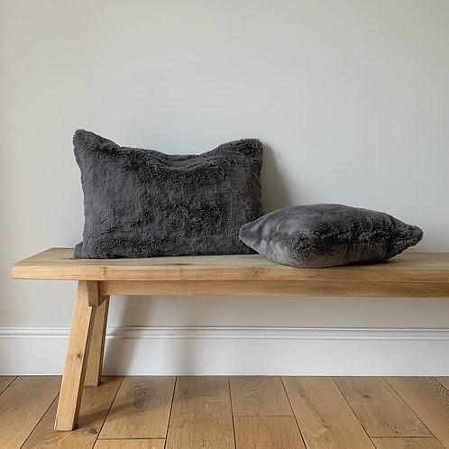 Charcoal Faux Fur Cushion - Large