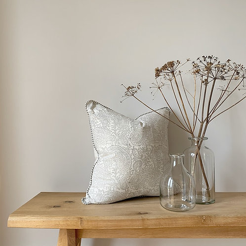 Pale Grey Paisley Patterned Cushion