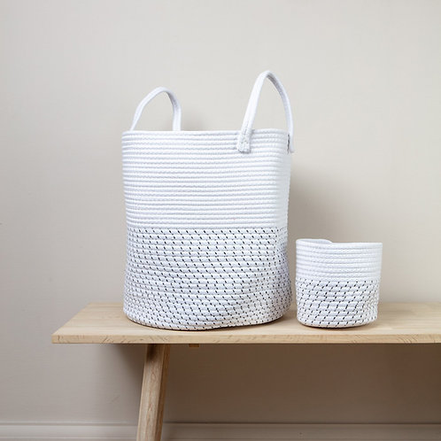 Black & White Rope Basket with Handles