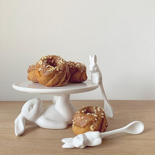 White Ceramic Bunny Cupcake Plate