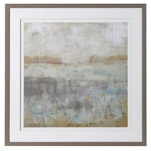 Dawn Breaking Landscape Picture in Mid-Oak Effect Frame