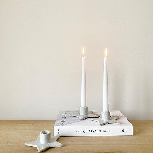 Grey Ceramic Star Candlestick Holder