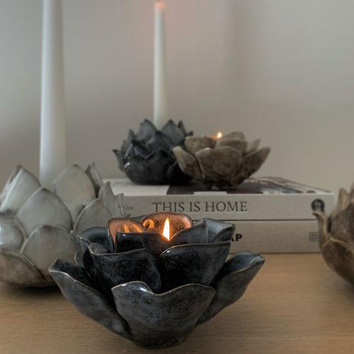 Dark Grey Blooming Flower Ceramic Tealight Holder