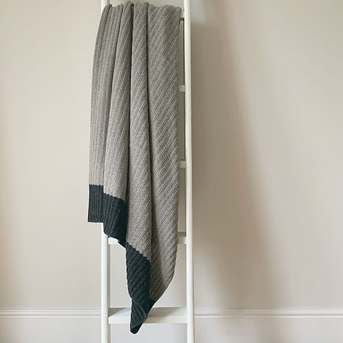 Pale Grey Ribbed Knit Throw