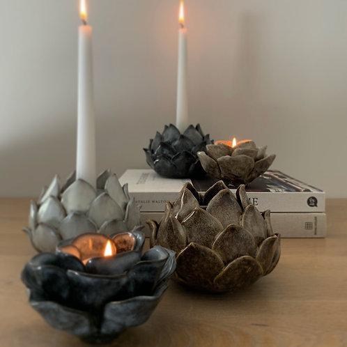 Brown Blooming Flower Ceramic Candlestick Holder