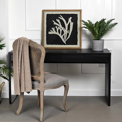 Black & Taupe Coastal Coral Picture in Wooden Frame
